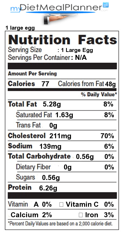 Nutrition Facts Egg Yolk Hard Boiled  Nutrition Daily