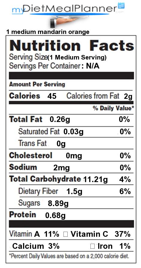 Calories in 1 medium mandarin orange - Nutrition Facts for ...