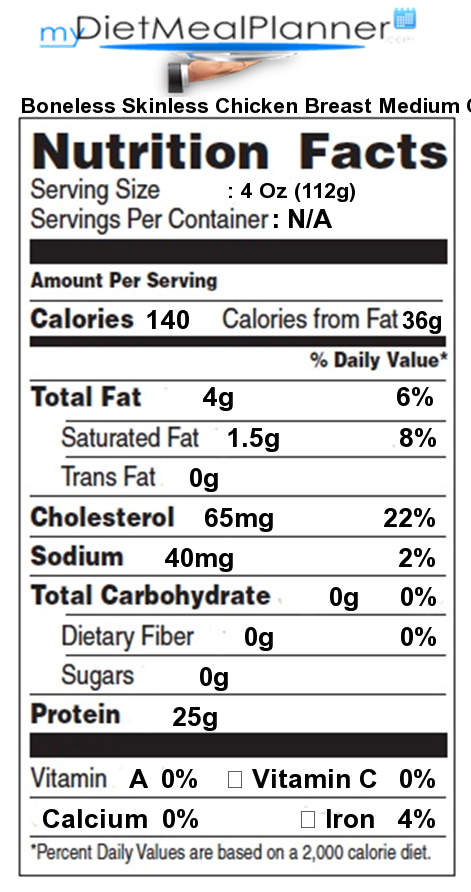 boiled boneless skinless chicken breast nutrition facts