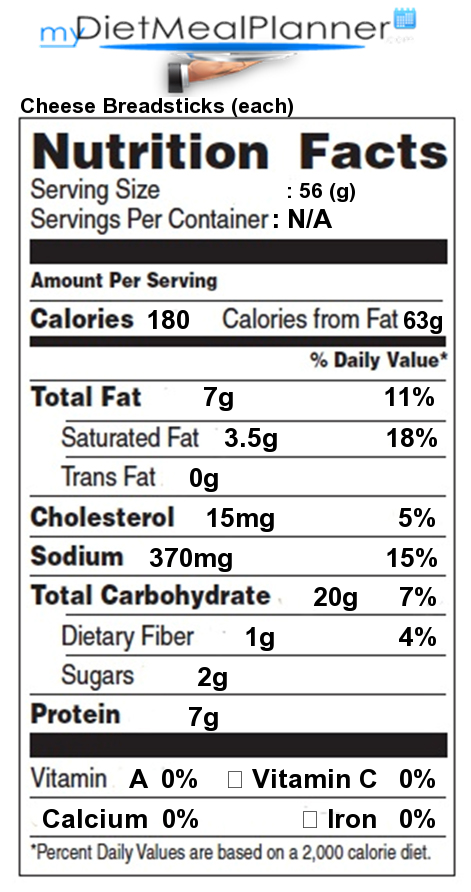 Nutrition facts label popular chain restaurants 15 - Olive garden breadsticks nutrition facts ...