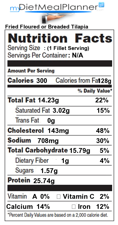 Nutrition facts label fish seafood 14 for Fried fish calories