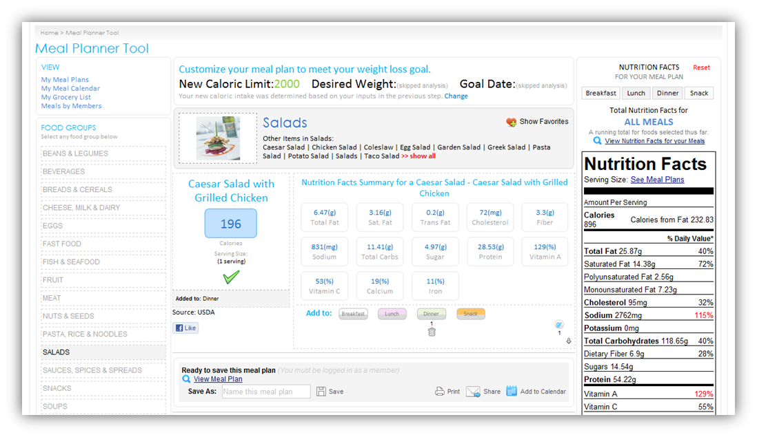 Meal planner software online meal planning tools for Online planning software