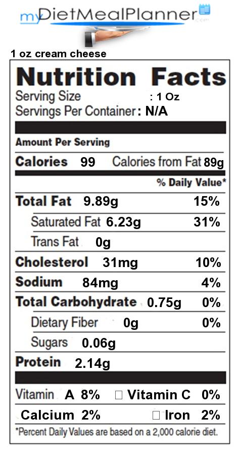 calories cream cheese