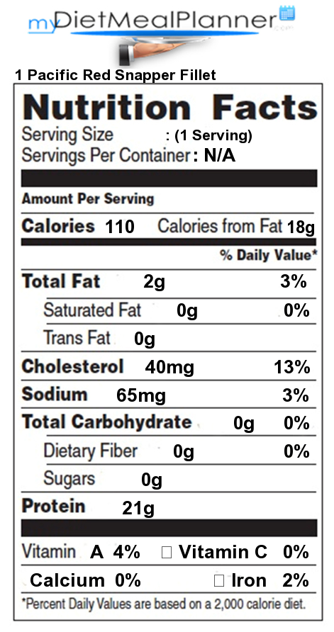 Sodium in 1 pacific red snapper fillet nutrition facts for Fish sandwich calories