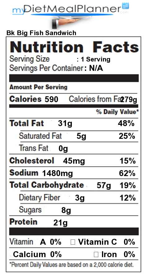 burger king bk big fish sandwich detailed nutrition facts