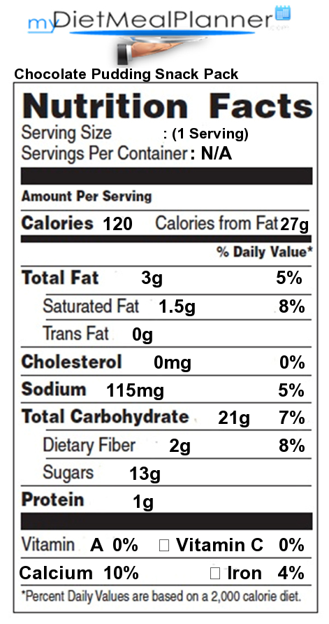 Total Carbs in Chocolate Pudding Snack Pack - Nutrition ...
