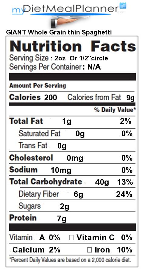 Whole grain pasta nutrition