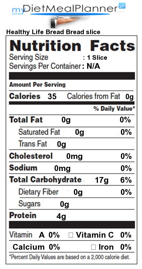 total carbs in healthy life bread bread slice   nutrition