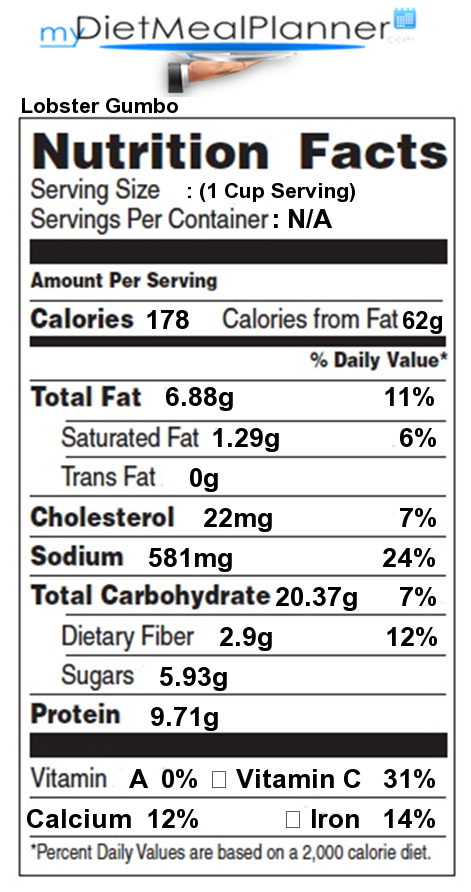 Sugar in Lobster Gumbo - Nutrition Facts for Lobster Gumbo