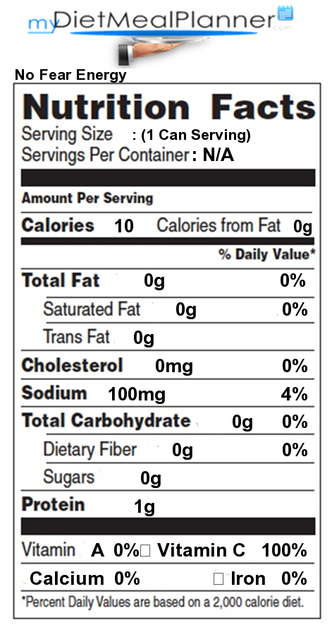 Energy Drinks No Fear Energy - Detailed Nutrition Facts
